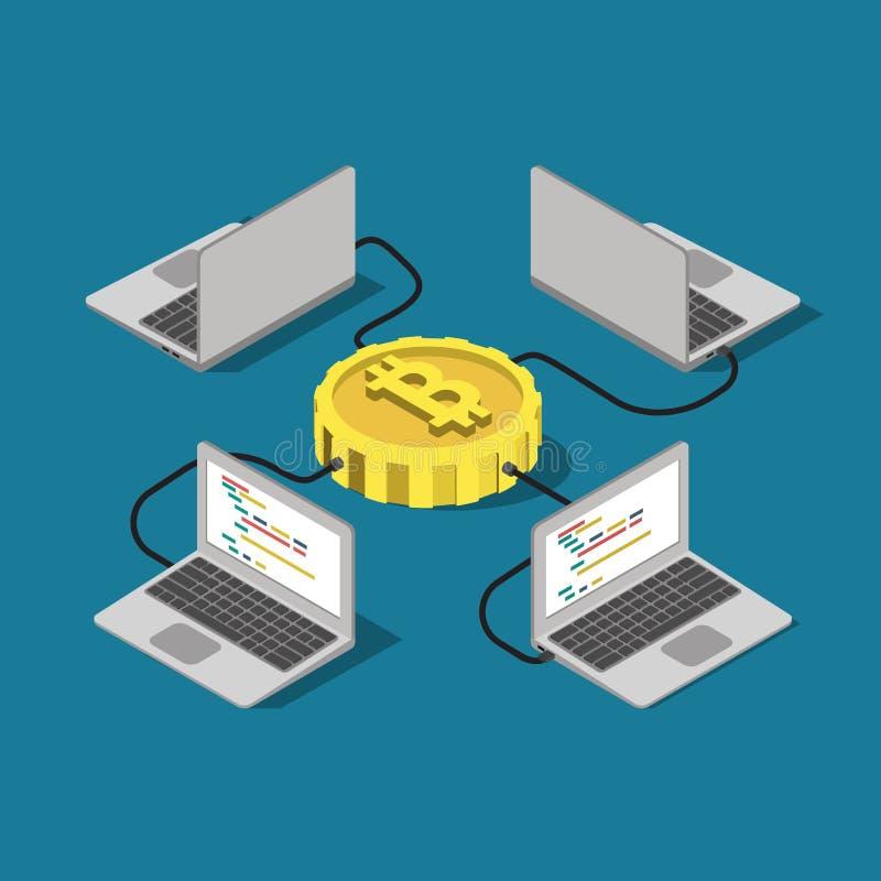 Vetor liso da mineração em linha da conexão de rede de Bitcoin isométrico ilustração do vetor
