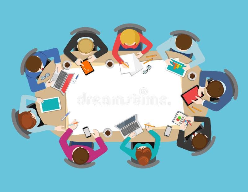 Vetor liso da reunião de negócios da opinião de tampo da mesa do escritório infographic ilustração royalty free