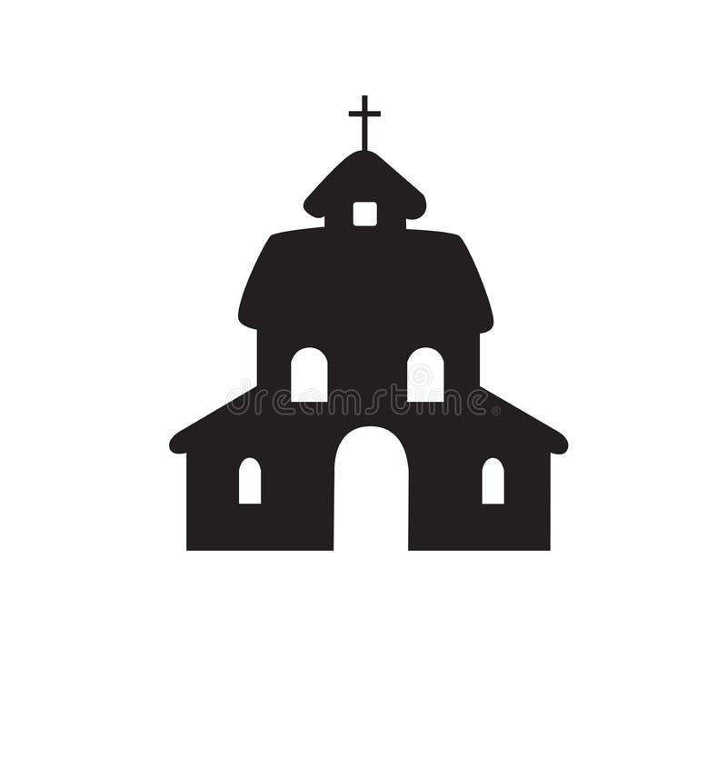 Vetor liso da silhueta da igreja isolado no branco ilustração royalty free