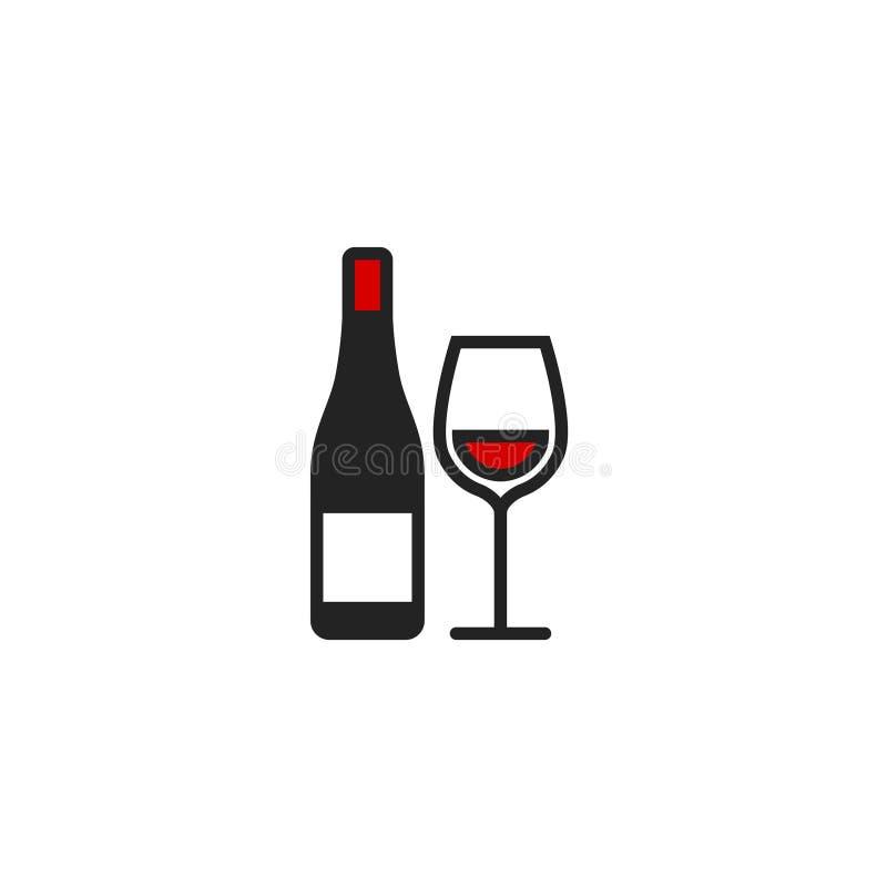 Vetor liso de vidro, s?mbolo ou logotipo do ?cone da garrafa de vinho e do vinho ilustração do vetor