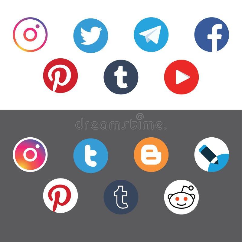 Vetor liso do ícone social do círculo das redes ilustração royalty free