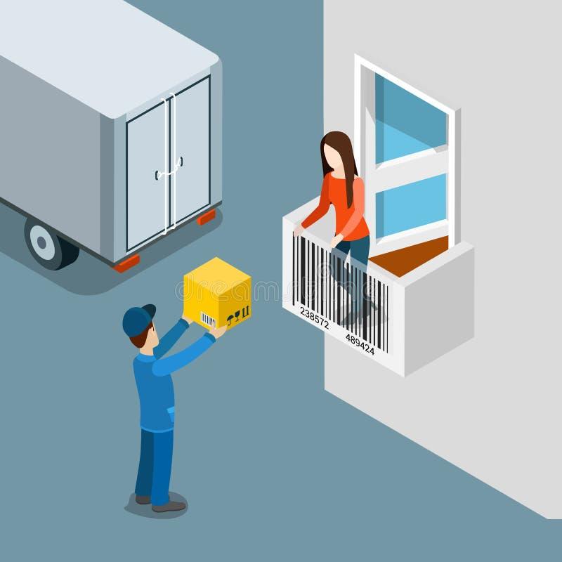 Vetor liso do cliente do entregador da caixa da porta da casa do pacote da entrega ilustração royalty free