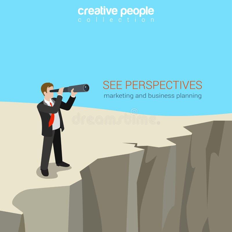 Vetor liso do conceito do molde da Web das perspectivas do negócio do estilo ilustração royalty free