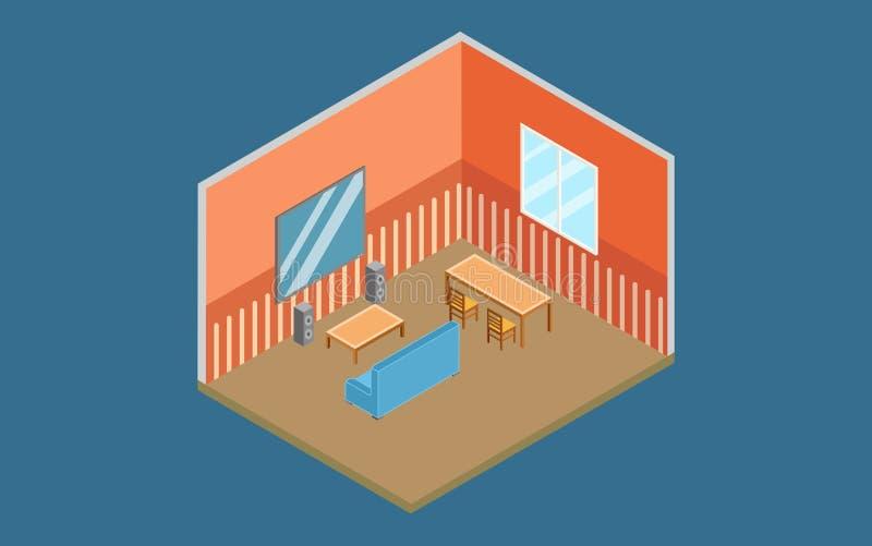 Vetor liso do design de interiores home isométrico ilustração do vetor