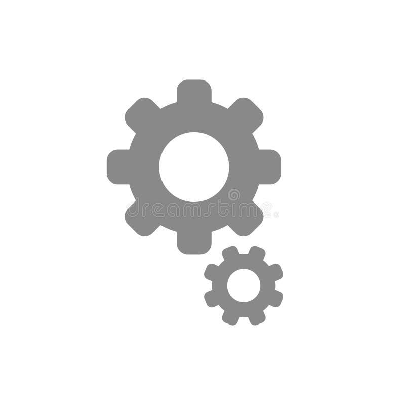 Vetor liso do estilo do projeto do ícone das engrenagens no branco ilustração royalty free
