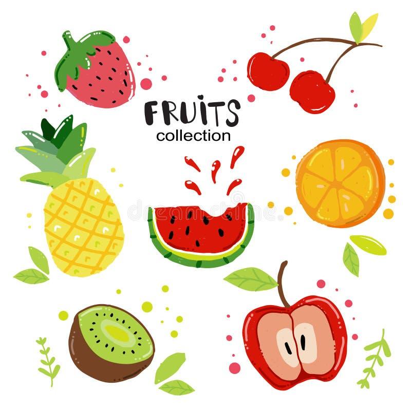 Vetor liso do grupo do fruto do verão da tração da mão da garatuja ilustração do vetor