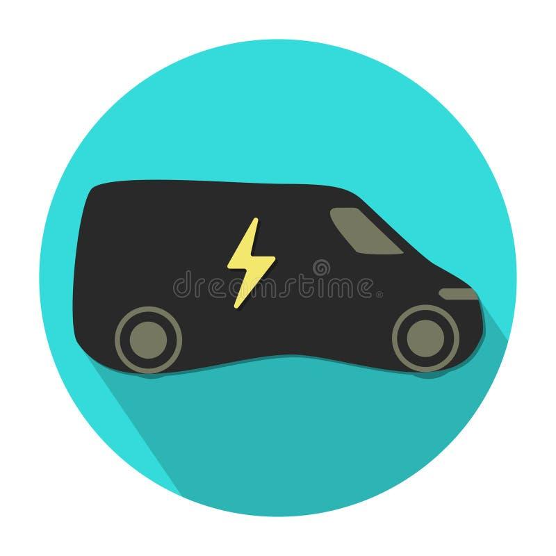 Vetor liso do projeto do ícone elétrico do veículo do eco ilustração royalty free