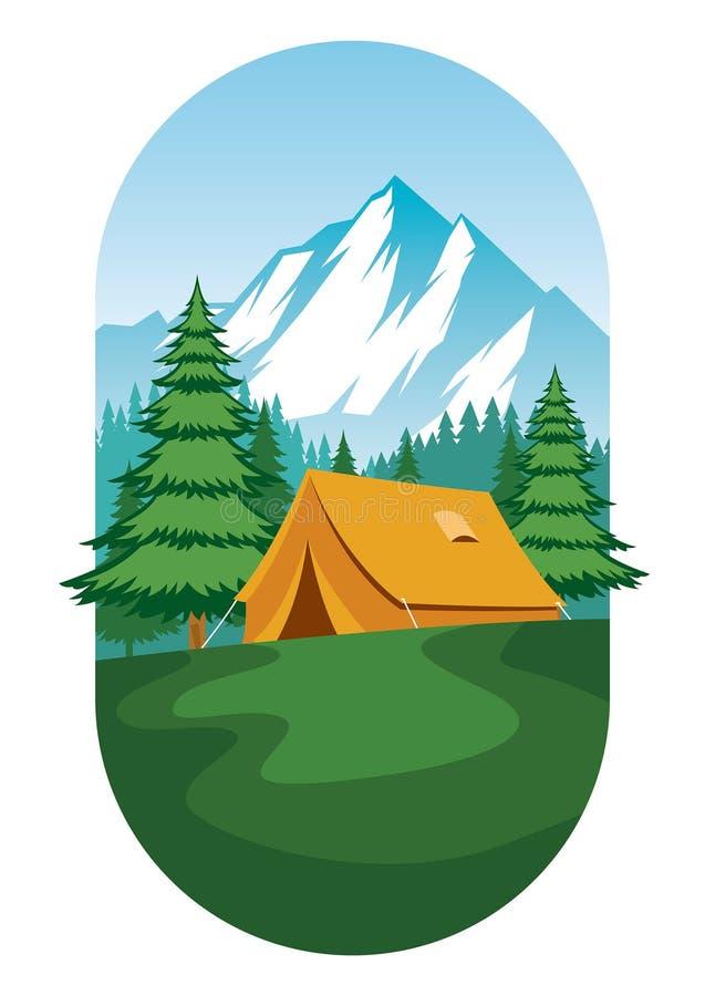 Vetor liso do projeto da terra de acampamento ilustração do vetor