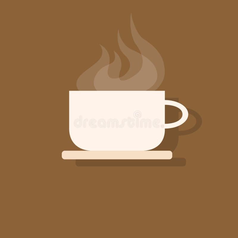 Vetor liso do projeto do ícone do copo de café ilustração stock