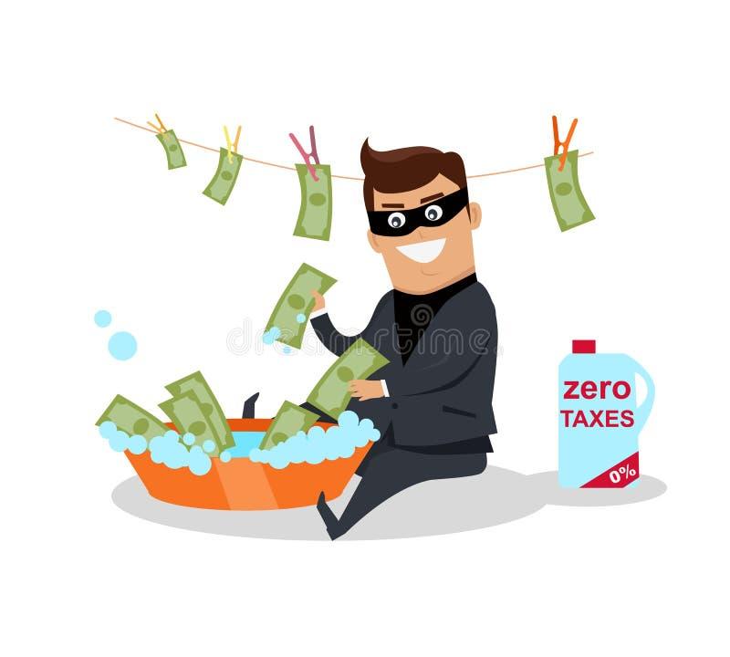 Vetor liso do projeto do conceito da lavagem de dinheiro ilustração stock