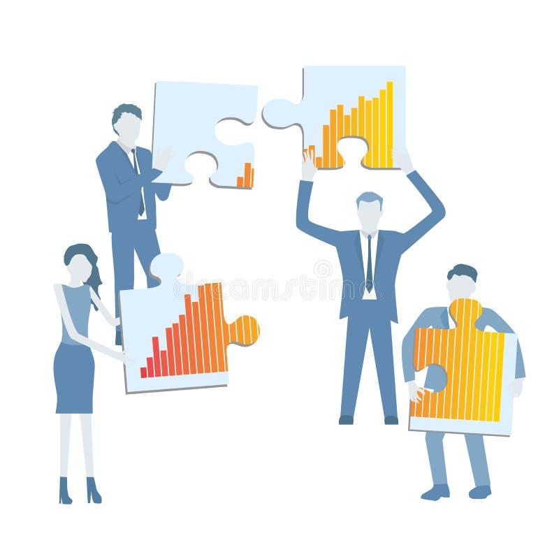 Vetor liso do projeto do negócio com uma equipe que guarda as partes de enigma que mostram um diagrama de carta do crescimento ilustração do vetor