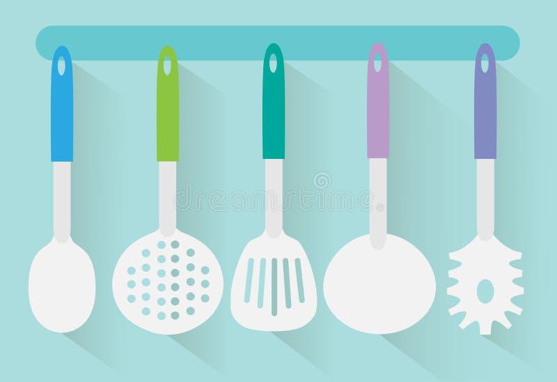 Vetor liso dos utensílios da cozinha ilustração royalty free