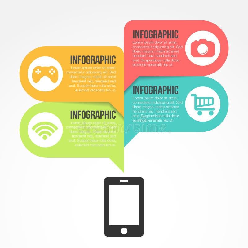 Vetor liso Infographic dos elementos móveis ilustração do vetor