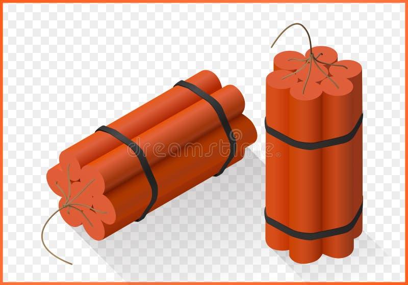 Vetor liso isométrico da bomba da dinamite ilustração stock