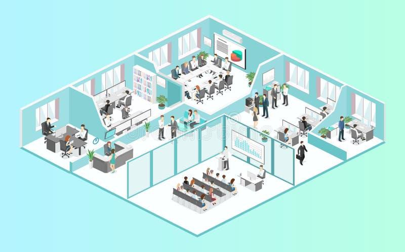 Vetor liso isométrico do conceito dos departamentos interiores do assoalho do escritório do sumário 3d ilustração royalty free
