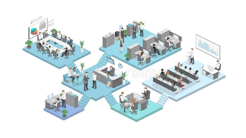 Vetor liso isométrico do conceito dos departamentos interiores do assoalho do escritório do sumário 3d ilustração stock