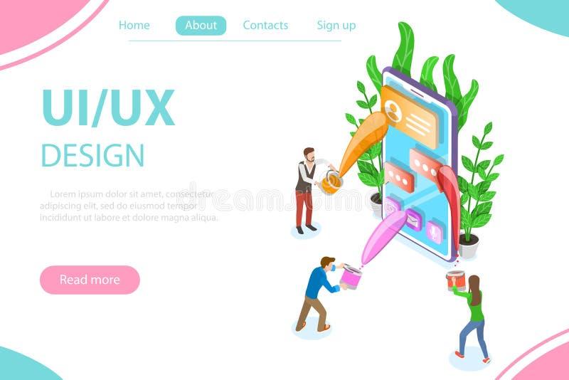 Vetor liso isométrico do processo de projeto de UI e de UX ilustração do vetor