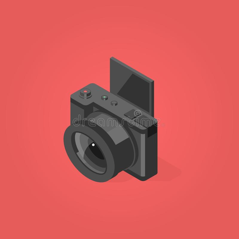 Vetor liso isométrico do projeto da câmera foto de stock royalty free