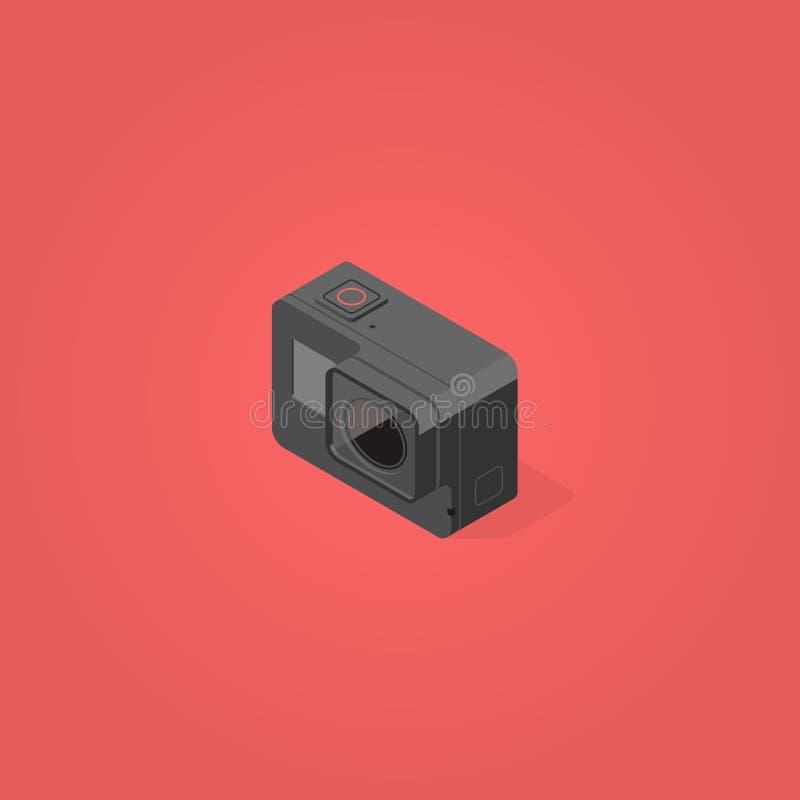 Vetor liso isométrico do projeto da came da ação imagens de stock
