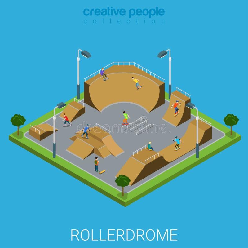 Vetor liso isométrico do rollerdrome do parque do patim de Skatepark BMX ilustração stock
