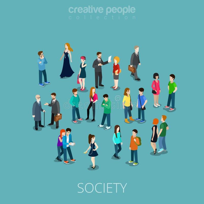 Vetor liso isométrico dos povos dos membros 3d da sociedade ilustração royalty free