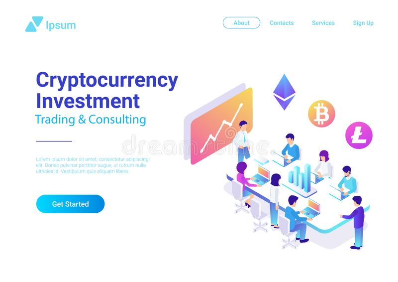 Vetor liso isométrico Team Cryptocurrency Investme ilustração royalty free