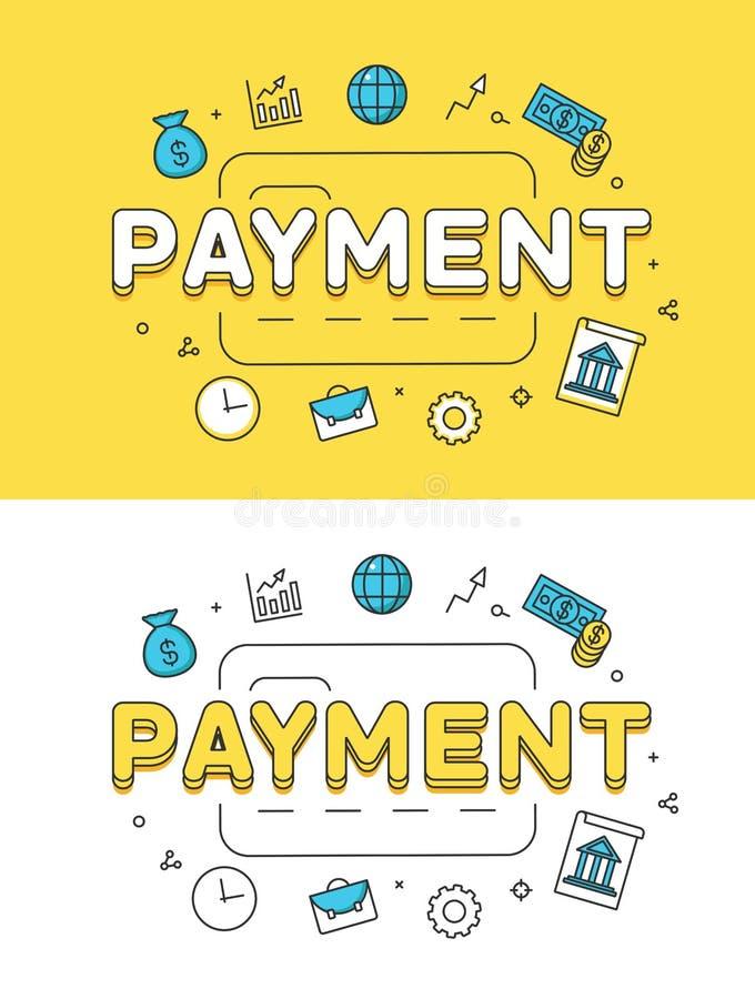 Vetor liso linear da imagem de cartão do crédito do PAGAMENTO ilustração royalty free