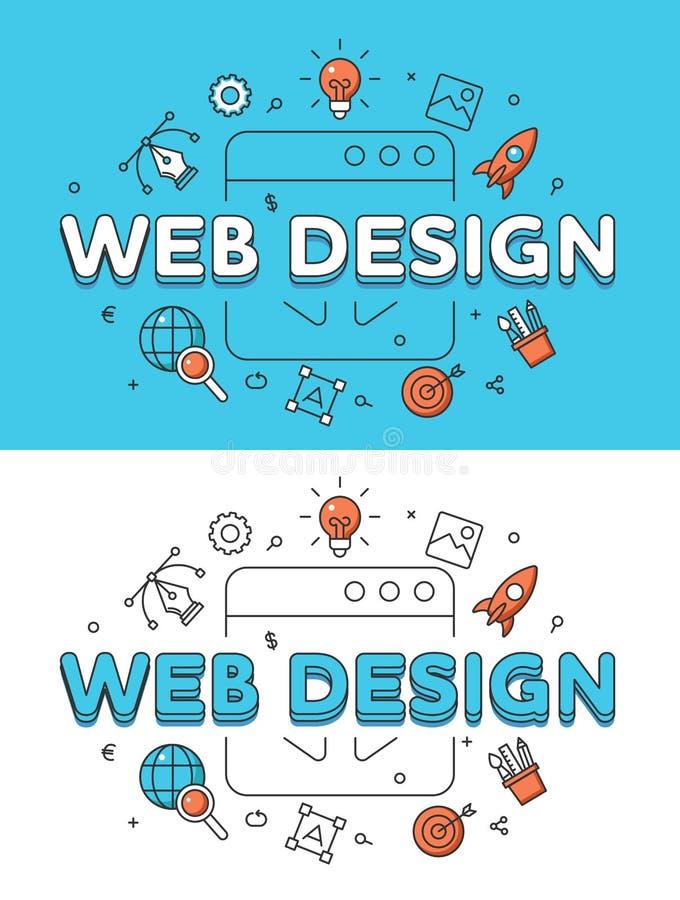 Vetor liso linear da janela do programa da palavra do DESIGN WEB ilustração royalty free