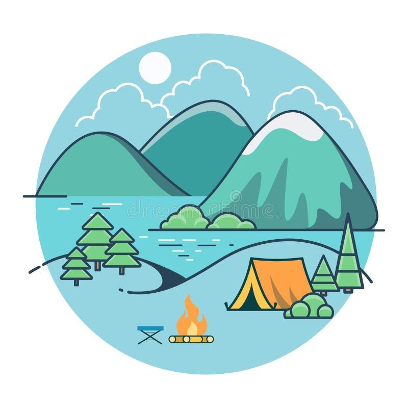 Vetor liso linear da montanha do lago da praia da barraca ilustração royalty free