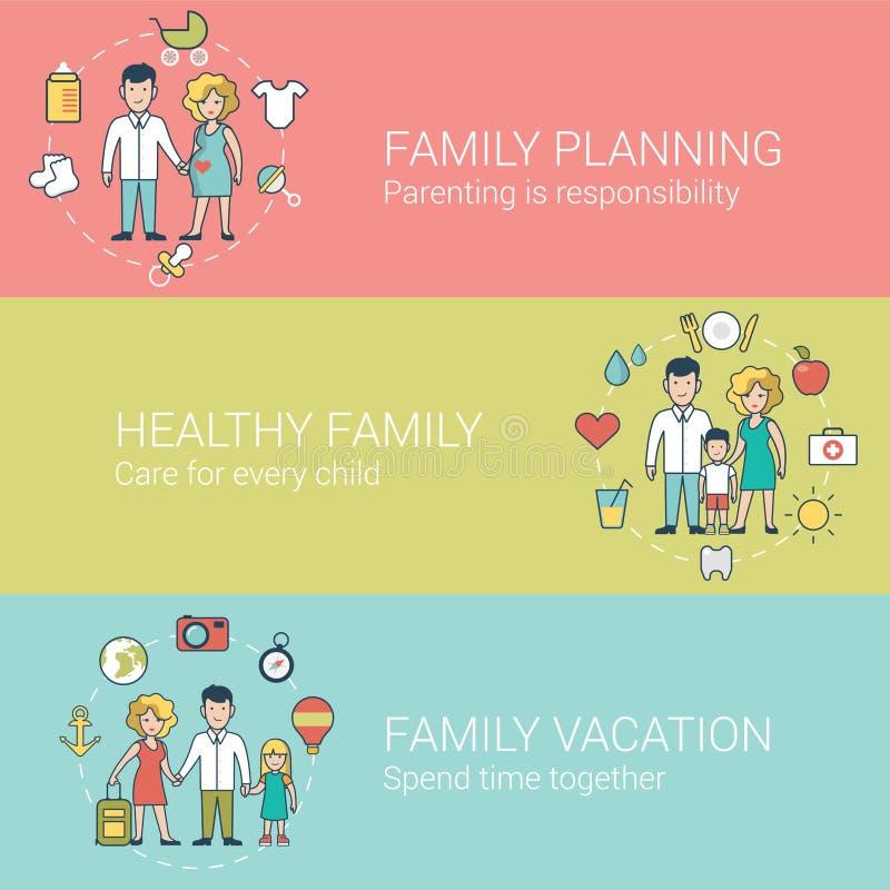 Vetor liso linear das férias da saúde da família ilustração stock
