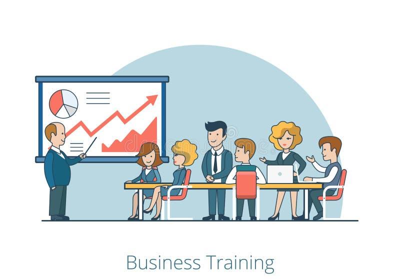Vetor liso linear de Training Stuff do treinador do negócio ilustração stock