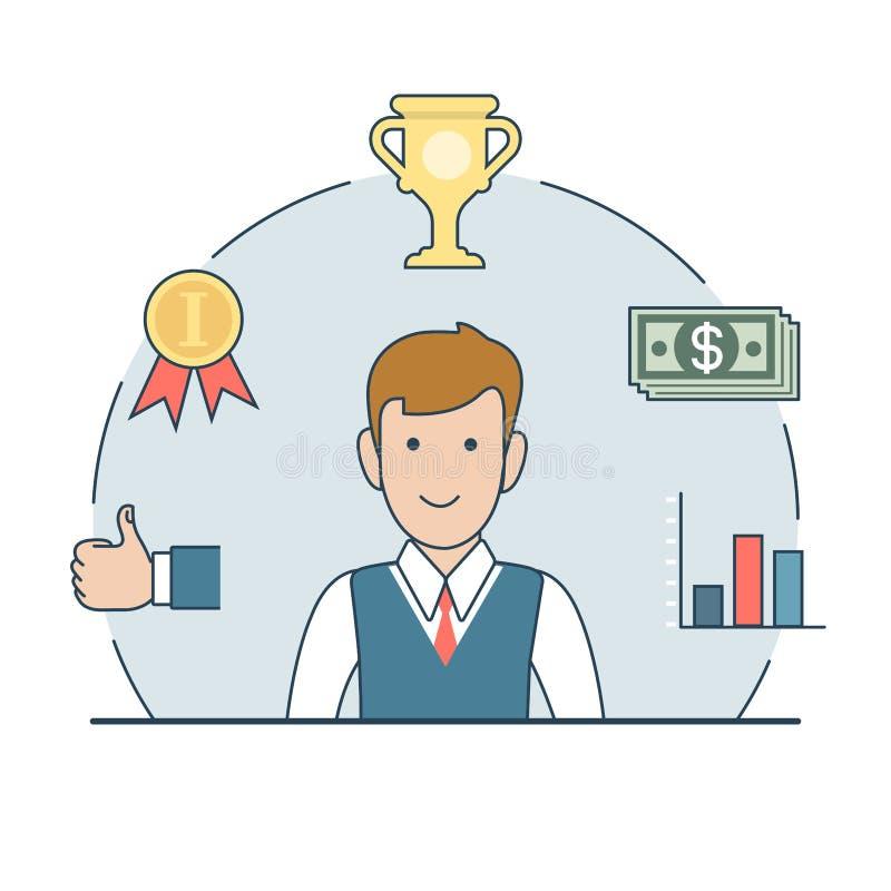 Vetor liso linear do dinheiro do copo do troféu do homem de negócio ilustração do vetor