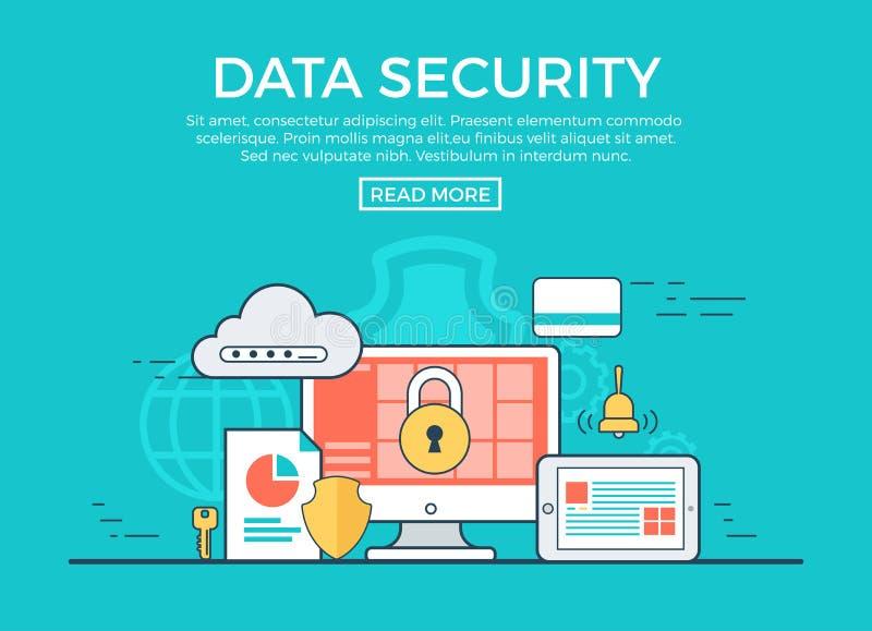 Vetor liso linear do infographics da segurança de dados app ilustração do vetor