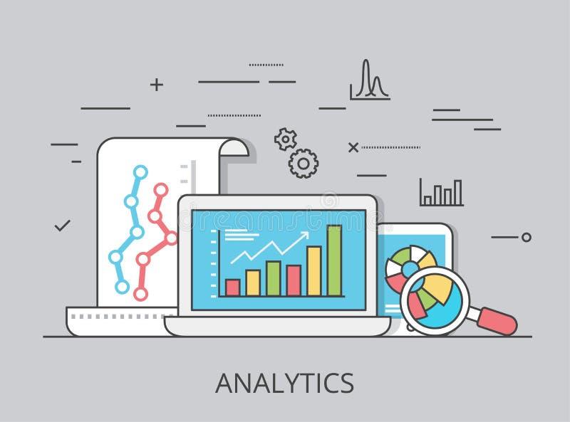 Vetor liso linear do Web site da analítica do mercado ilustração do vetor