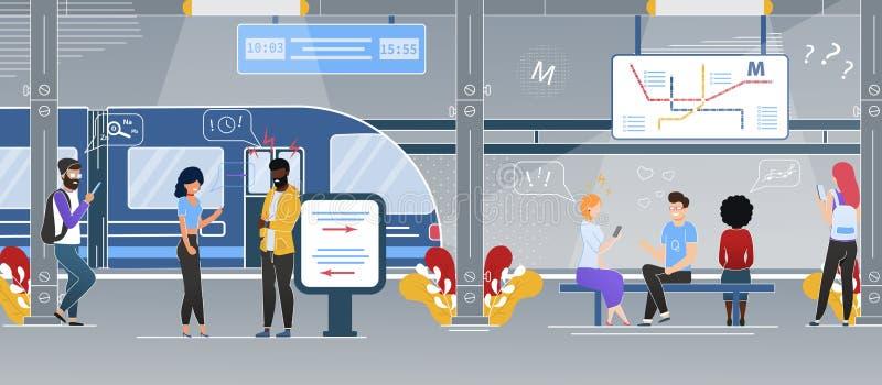 Vetor liso moderno da estação subterrânea do metro da cidade ilustração do vetor