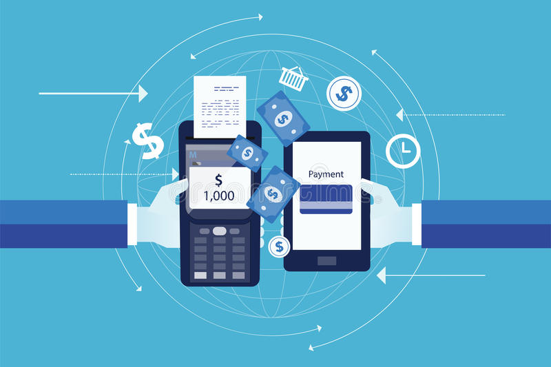 Vetor liso para o conceito móvel do pagamento do negócio ilustração stock