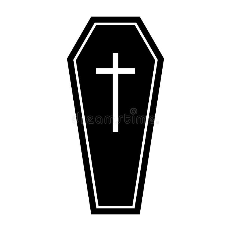 Vetor liso para seu projeto da site, logotipo do ícone da silhueta do caixão de Dia das Bruxas, app, UI Ilustração, EPS10 ilustração royalty free