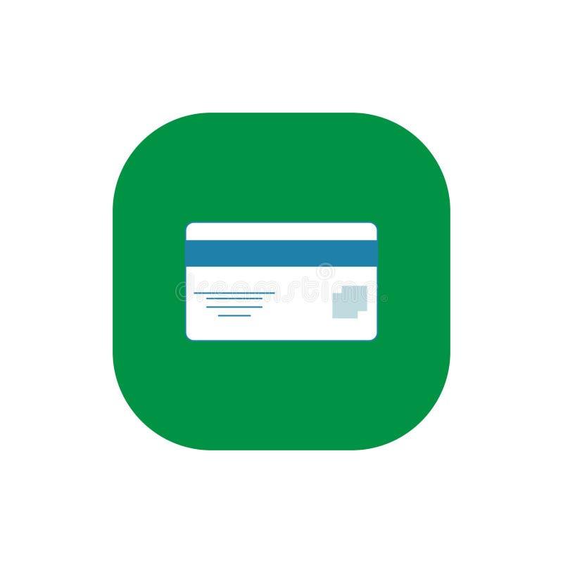 Vetor liso quadrado do ícone do cartão de crédito foto de stock