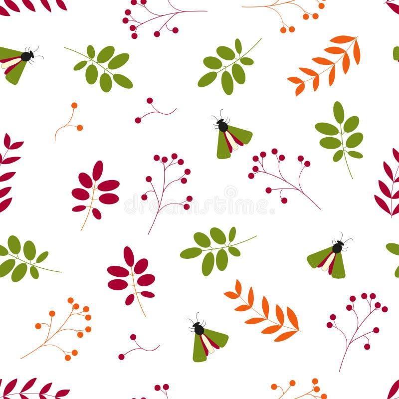 Vetor liso Teste padrão sem emenda: folhas, bagas e insetos em um fundo branco ilustração royalty free
