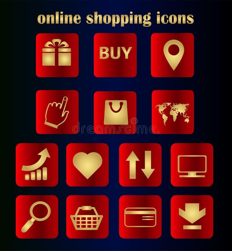 Vetor liso vermelho ajustado - compra em linha Dia de compra do mundo, sexta-feira preta Uma coleção de botões lisos para um site ilustração do vetor