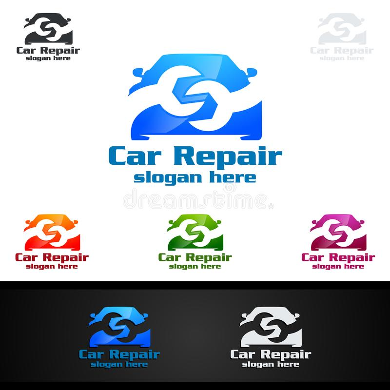 Vetor Logo Design do serviço do carro com forma da reparação de automóveis e conceito do carro ilustração do vetor