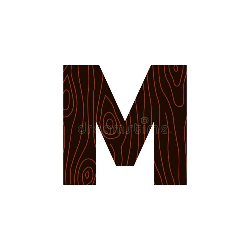 Vetor Logo Letter M Wood Texture ilustração stock