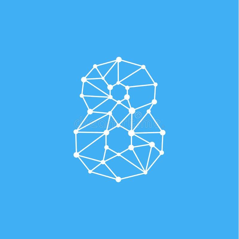 Vetor Logo Number 8 Dots Lines ilustração stock