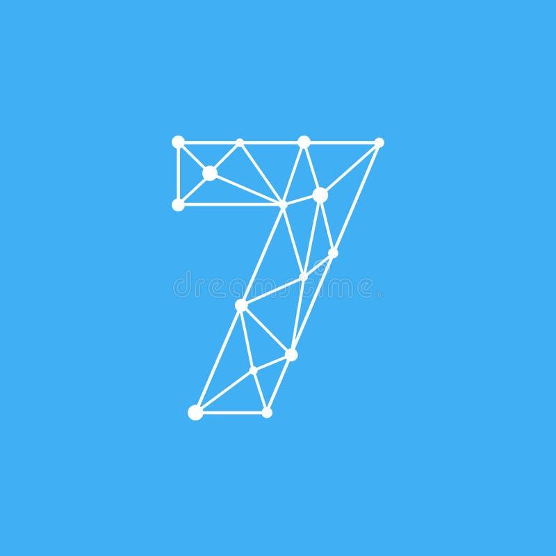 Vetor Logo Number 7 Dots Lines ilustração stock