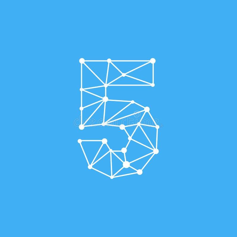 Vetor Logo Number 5 Dots Lines ilustração stock