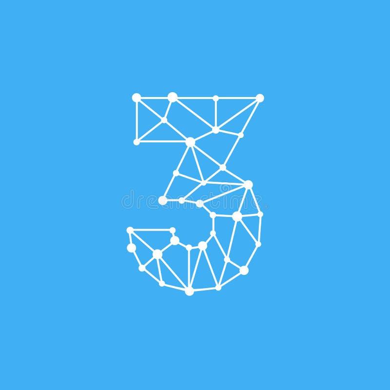 Vetor Logo Number 3 Dots Lines ilustração stock