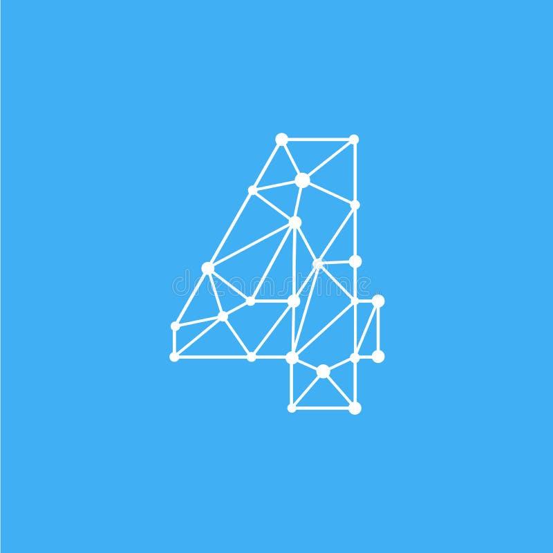 Vetor Logo Number 4 Dots Lines ilustração do vetor