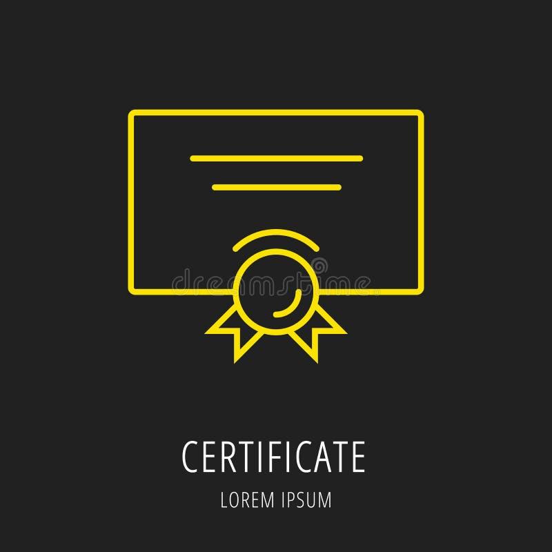 Vetor Logo Template Certificate simples ilustração royalty free
