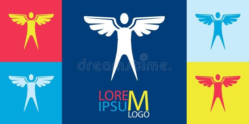 Vetor Logo Template - homem com asas ilustração stock