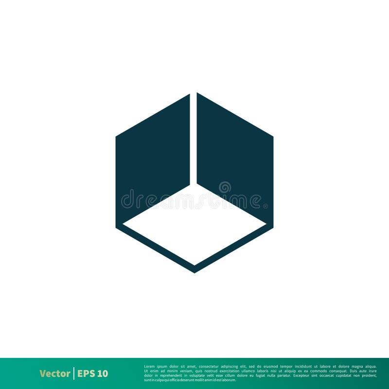 Vetor Logo Template Illustration Design do ícone do cubo da caixa Vetor EPS 10 ilustração royalty free